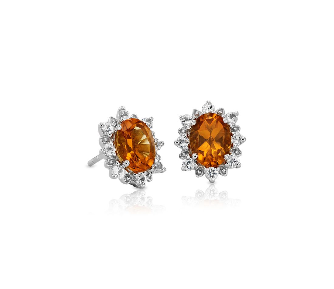 Sunburst Oval Citrine Stud Earrings