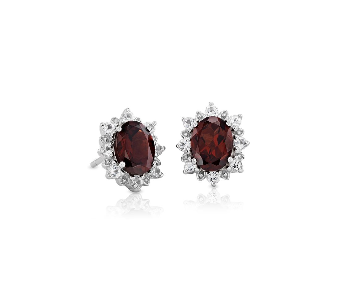 Sunburst Oval Garnet Stud Earrings in Sterling Silver (8x6mm)