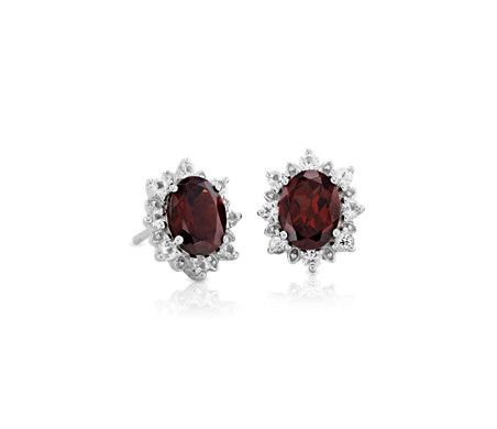 Sunburst Oval Garnet Stud Earrings In Sterling Silver 8x6mm