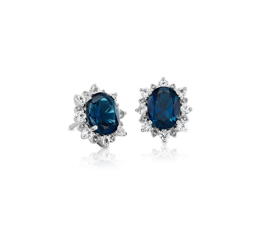 Sunburst Oval London Blue Topaz Stud Earrings in Sterling Silver (8x6mm)