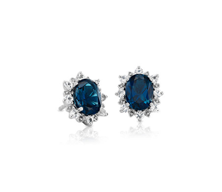 Blue Nile London Blue Topaz Stud Earrings in 14k White Gold (7mm) M0LelHG