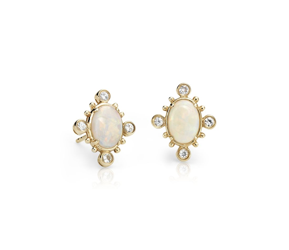 Sunburst Oval Opal And White Shire Earrings In 14k Yellow Gold 7x5 Mm
