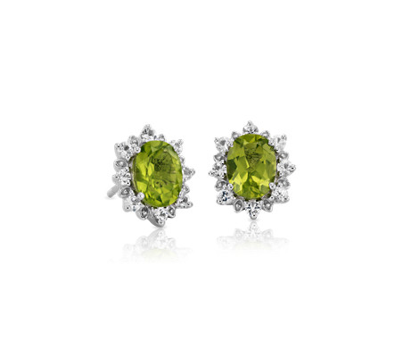 Sunburst Oval Peridot Stud Earrings in Sterling Silver (8x6mm)