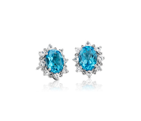 Sunburst Oval Swiss Blue Topaz Stud Earrings in Sterling Silver (8x6mm)