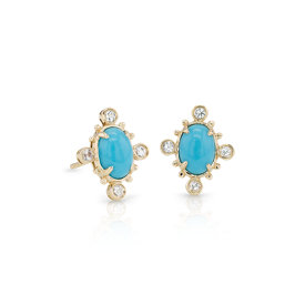Sunburst Turquoise and White Sapphire Earrings in 14k Yellow Gold (7x5 mm)