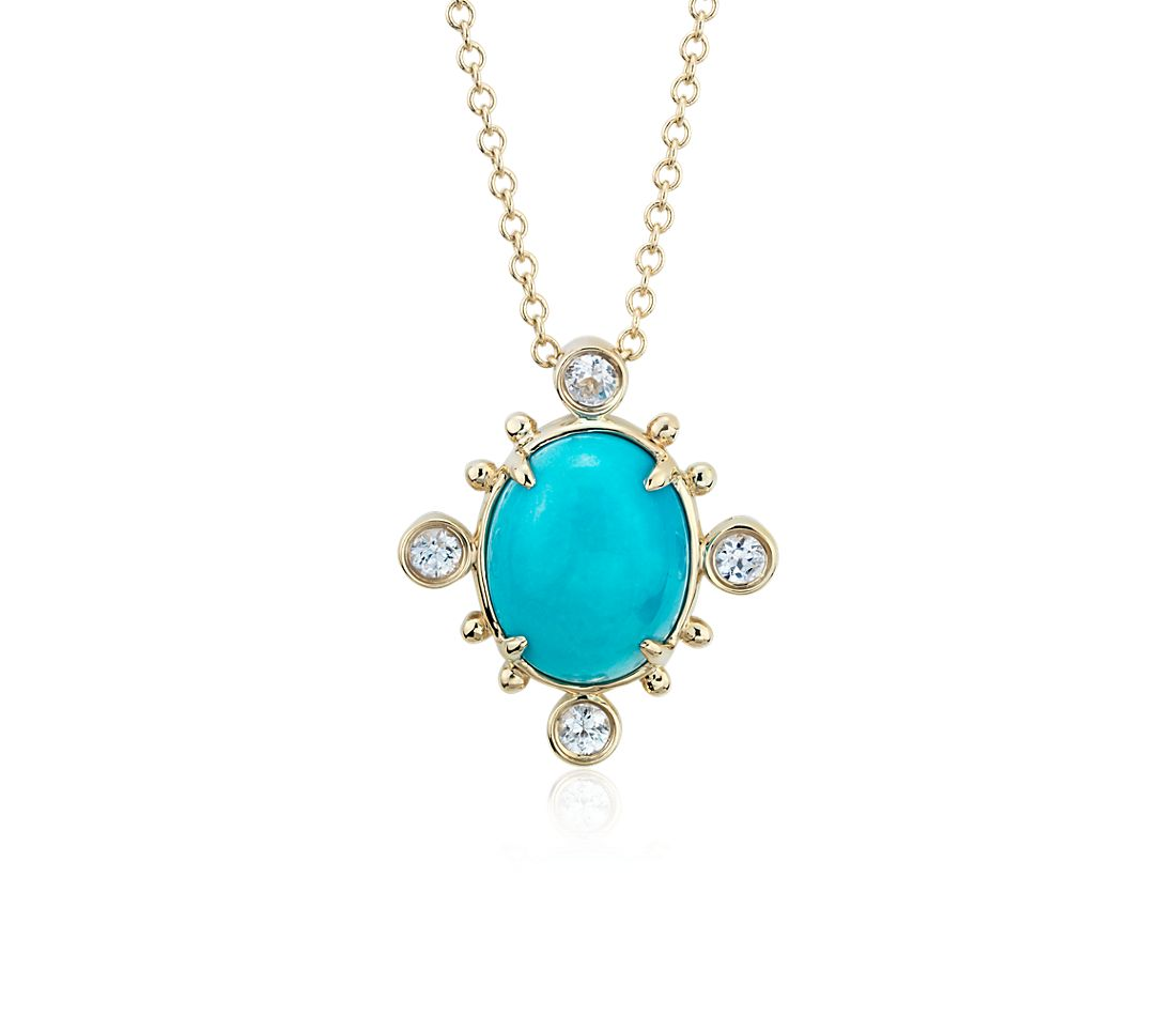 Sunburst Turquoise and White Sapphire Pendant in 14k Yellow Gold