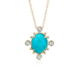 NEW Sunburst Turquoise and White Sapphire Pendant in 14k Yellow Gold (10x8 mm)