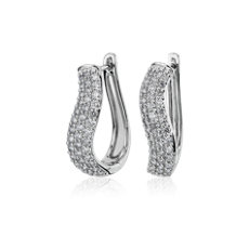 NEW Swirl Hoop Earrings in 14k White Gold (0.95 ct. tw.)