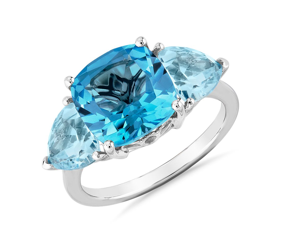 Cushion Swiss Topaz and Sky Blue Topaz Trillion Ring in 14k White Gold