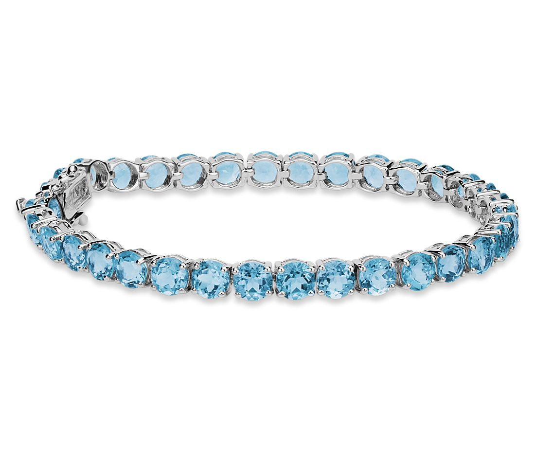 Swiss Blue Topaz Bracelet In Sterling Silver 5mm