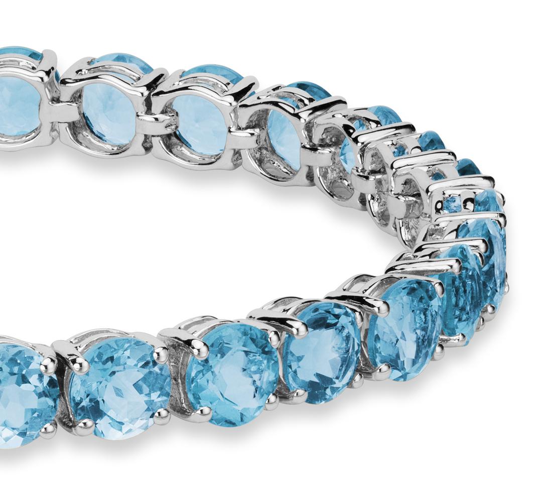 Swiss Blue Topaz Bracelet in Sterling Silver (5mm)