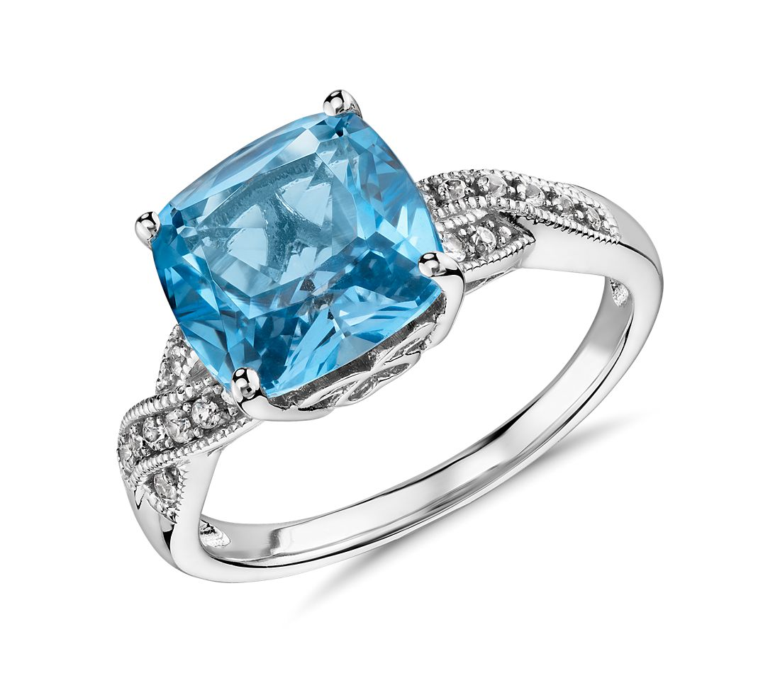 swiss blue topaz and white sapphire ring in sterling silver 9x9mm - Blue Topaz Wedding Rings