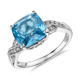 Swiss Blue Topaz and White Sapphire Ring in Sterling Silver (9x9mm)