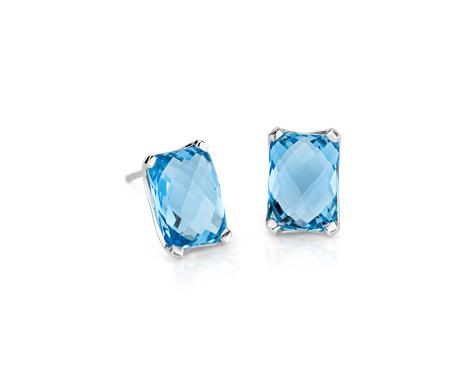 Blue Nile Blue Topaz Stud Earrings in 14k White Gold (7mm) c2WAt