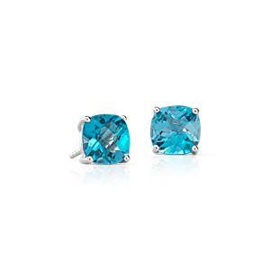 Swiss Blue Topaz Cushion Earrings in Sterling Silver (8mm)