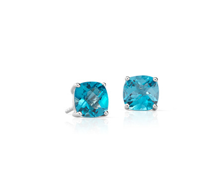 Swiss Blue Topaz Cushion Earrings in Sterling Silver (8mm)