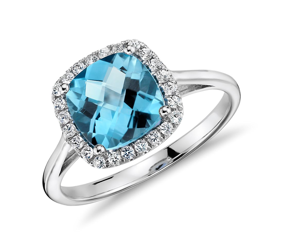 swiss blue topaz and cushion ring in 14k white