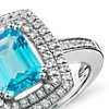 Swiss Blue Topaz and White Topaz Double Halo Cocktail Ring in Sterling Silver (8x6mm)