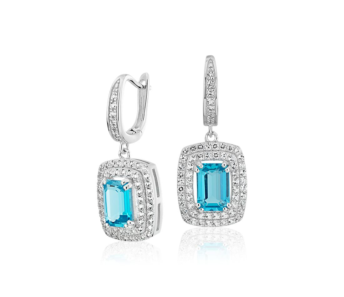 Swiss Blue Topaz and White Topaz Double Halo Drop Earrings in Sterling Silver (7x5mm)