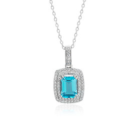 Swiss Blue Topaz and White Topaz Double Halo Pendant in Sterling Silver (8x6mm)