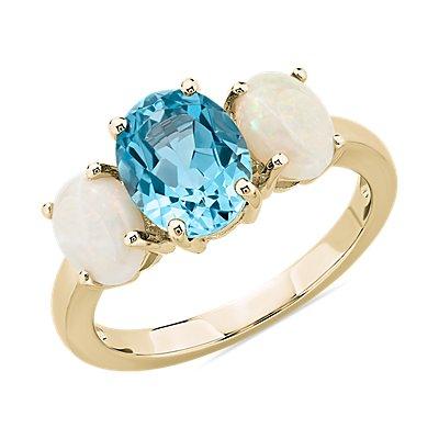 14k 金椭圆形瑞士蓝托帕石和欧泊戒指