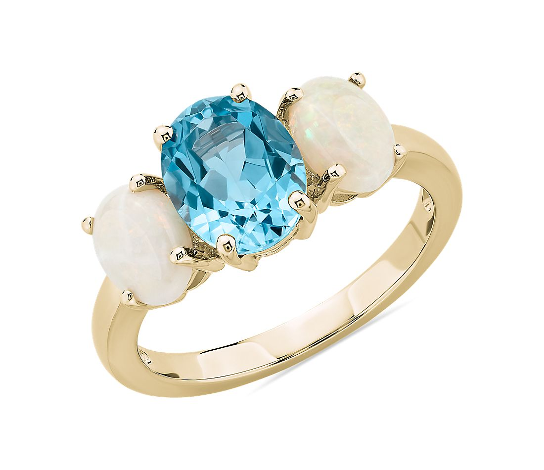 Oval Swiss Blue Topaz and Opal Ring in 14k Yellow Gold