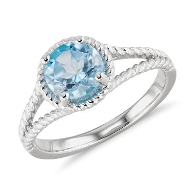 Swiss Blue Topaz Rope Ring in Sterling Silver 7mm Blue Nile
