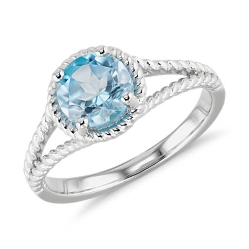 Swiss Blue Topaz Rope Ring In Sterling Silver 7mm Blue