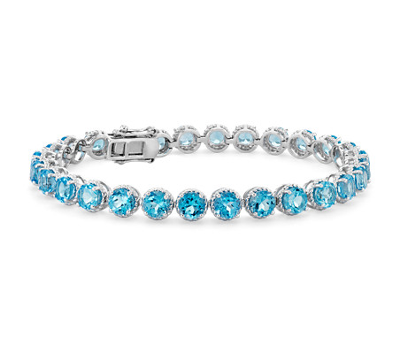 Swiss Blue Topaz Round Rope Bracelet in Sterling Silver (5mm)