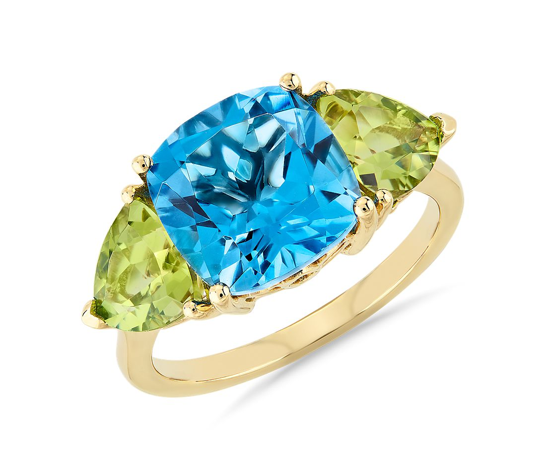 Cushion Swiss Blue Topaz and Peridot Trillion Ring in 14k Yellow Gold