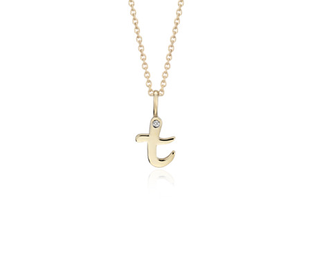 """T"" Mini Initial Diamond Pendant in 14k Yellow Gold"