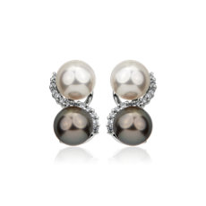 Tahitian and Akoya Twist Pearl Stud Earrings in 18k White Gold (8.0-8.5mm)