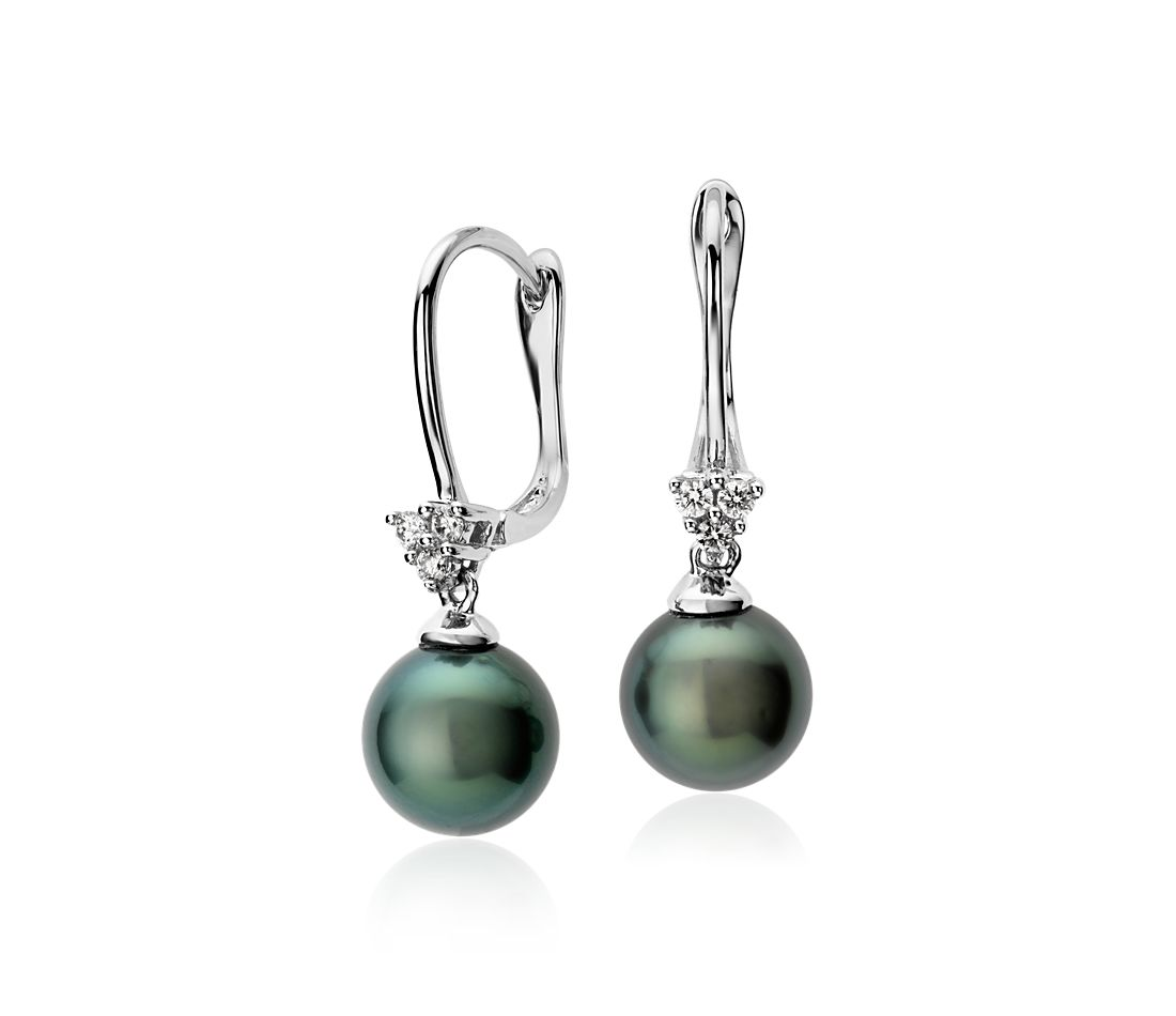 Tahitian Cultured Pearl and Diamond Cluster Drop Earrings in 14k White Gold (8mm)