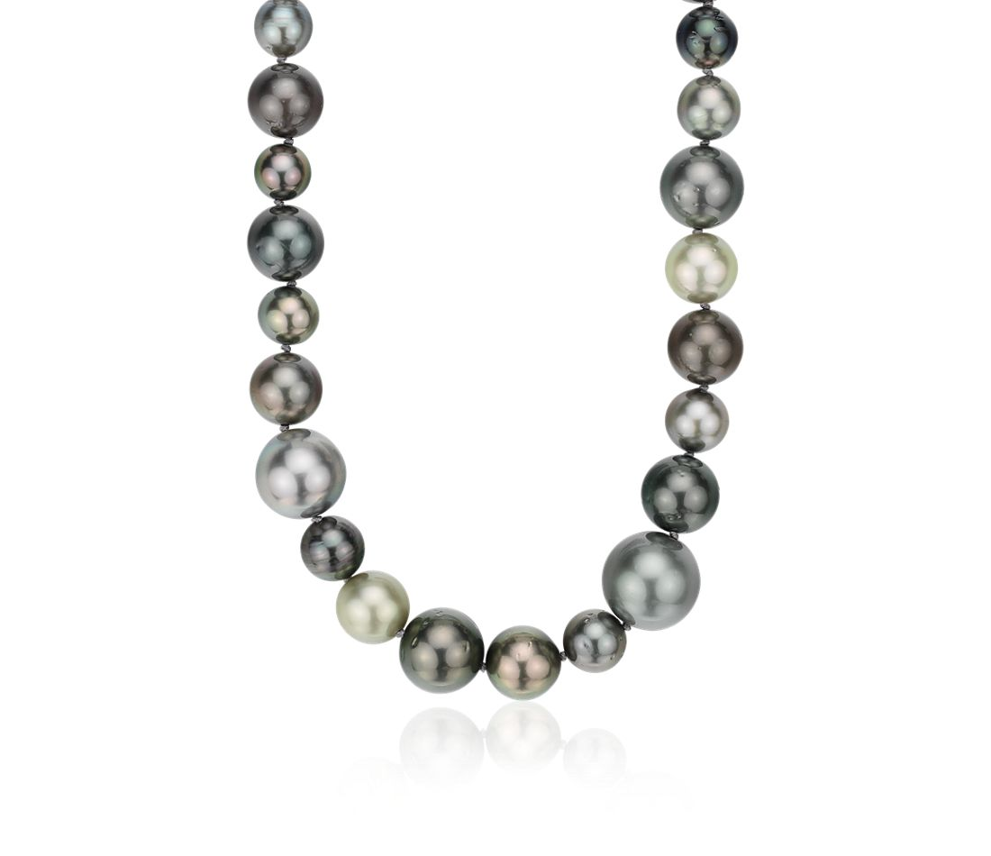 Tahitian Cultured Pearl Cocktail Strand in 18k White Gold (8-14mm)