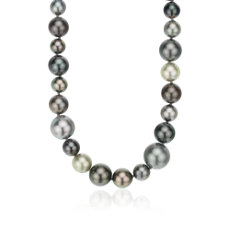 "Tahitian Cultured Pearl Cocktail Strand in 18k White Gold - 39.25"" Long (8-14mm)"