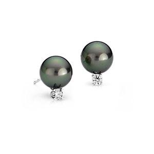 Tahitian Cultured Pearl and Diamond Stud Earrings in 18k White Gold (9.0-9.5mm)