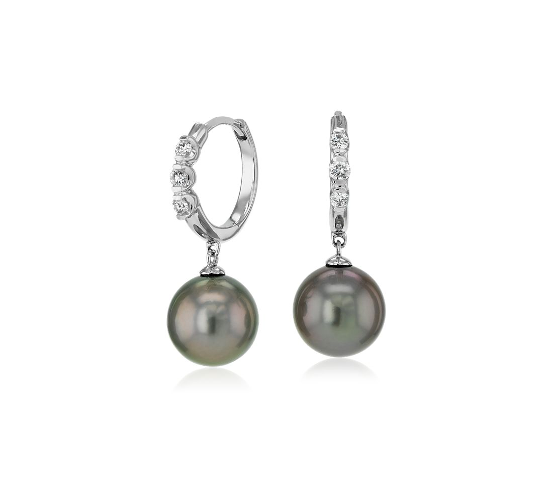 Tahitian Cultured Pearl Earrings with Diamond Hoop in 14k White Gold (8.0-9.0mm)