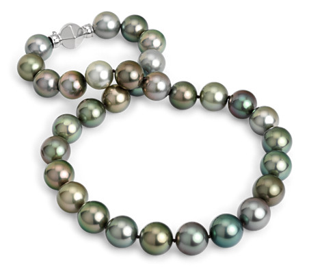 Blue Nile Baroque Tahitian Cultured Pearl Necklace with 18k White Gold (10-11mm) jbQt3CmHfs