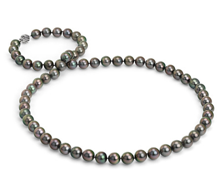 Tahitian Cultured Pearl Strand Necklace with Cage Clasp in 18k White Gold - 36