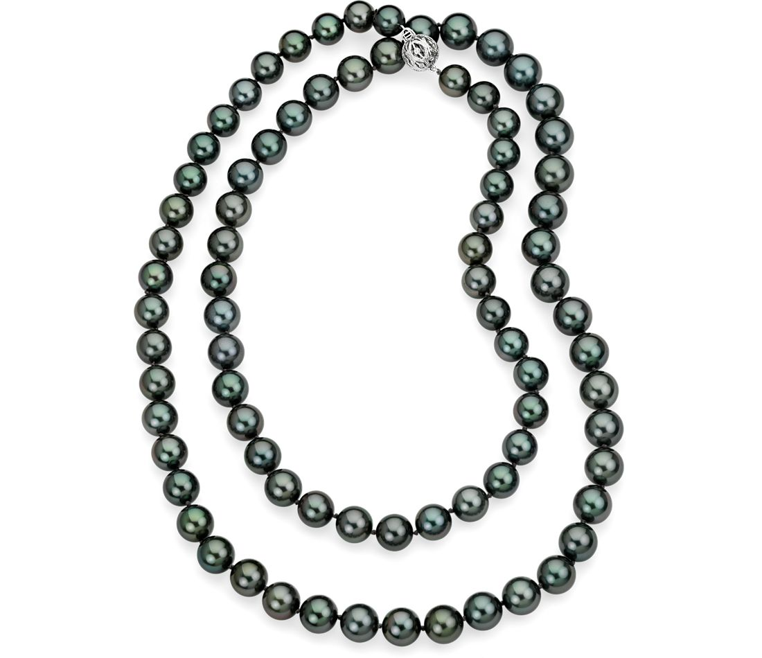 "Tahitian Cultured Pearl Strand Necklace with 18k White Gold - 38"" Long"
