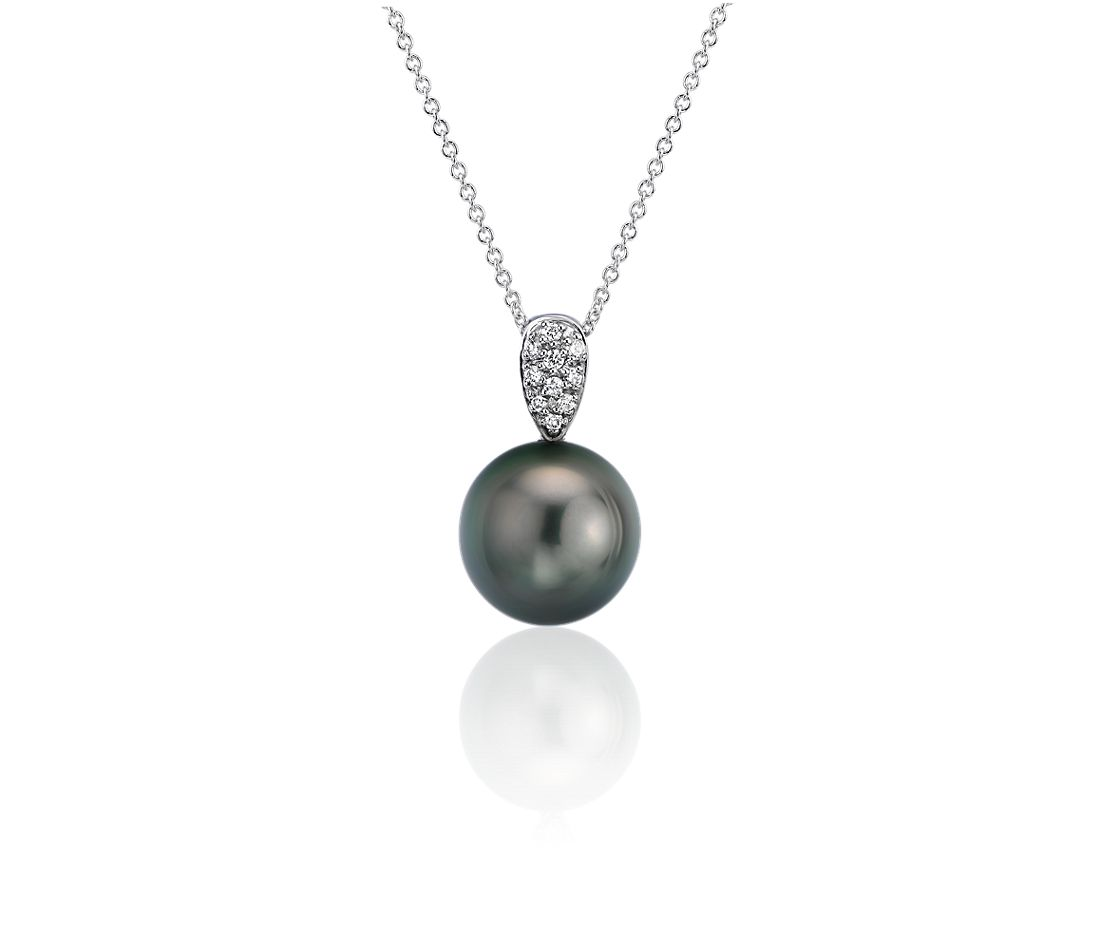 Tahitian Cultured Pearl Pendant with Diamond Teardrop in 14k White Gold (10-10.5mm)
