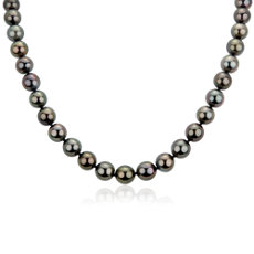 NEW Tahitian Cultured Pearl Strand Necklace in 18k White Gold (9-10mm)