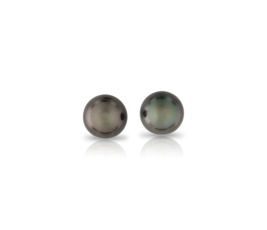 Tahitian Cultured Pearl Stud Earrings in 18k White Gold (8-9mm)