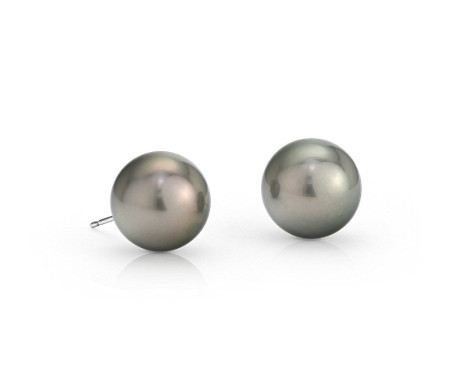 Tahitian Cultured Pearl Stud Earrings in 18k White Gold (11-12mm)