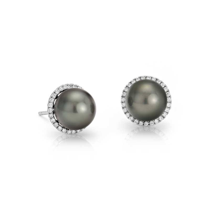Tahitian Cultured Pearl and Diamond Halo Stud Earrings in 14k Whi