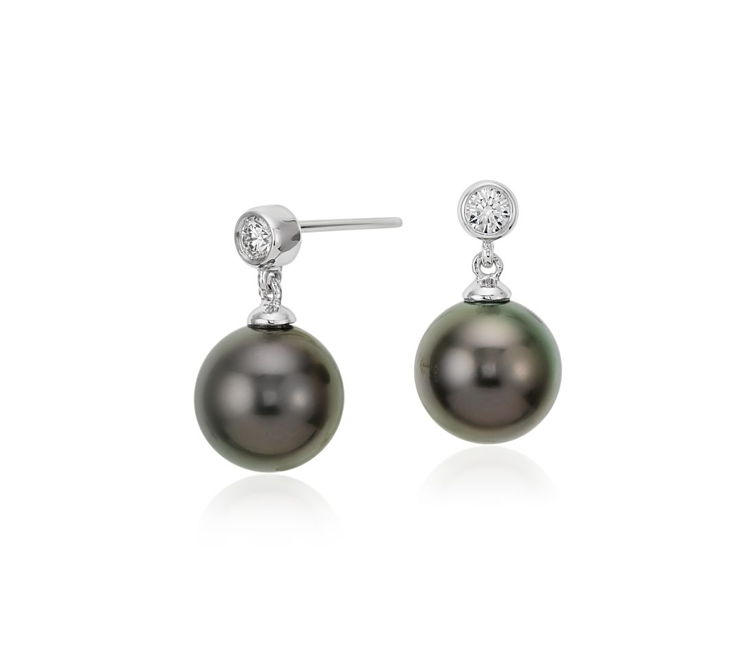Tahitian Cultured Pearl and Bezel-Set Diamond Earrings in 18k White Gold