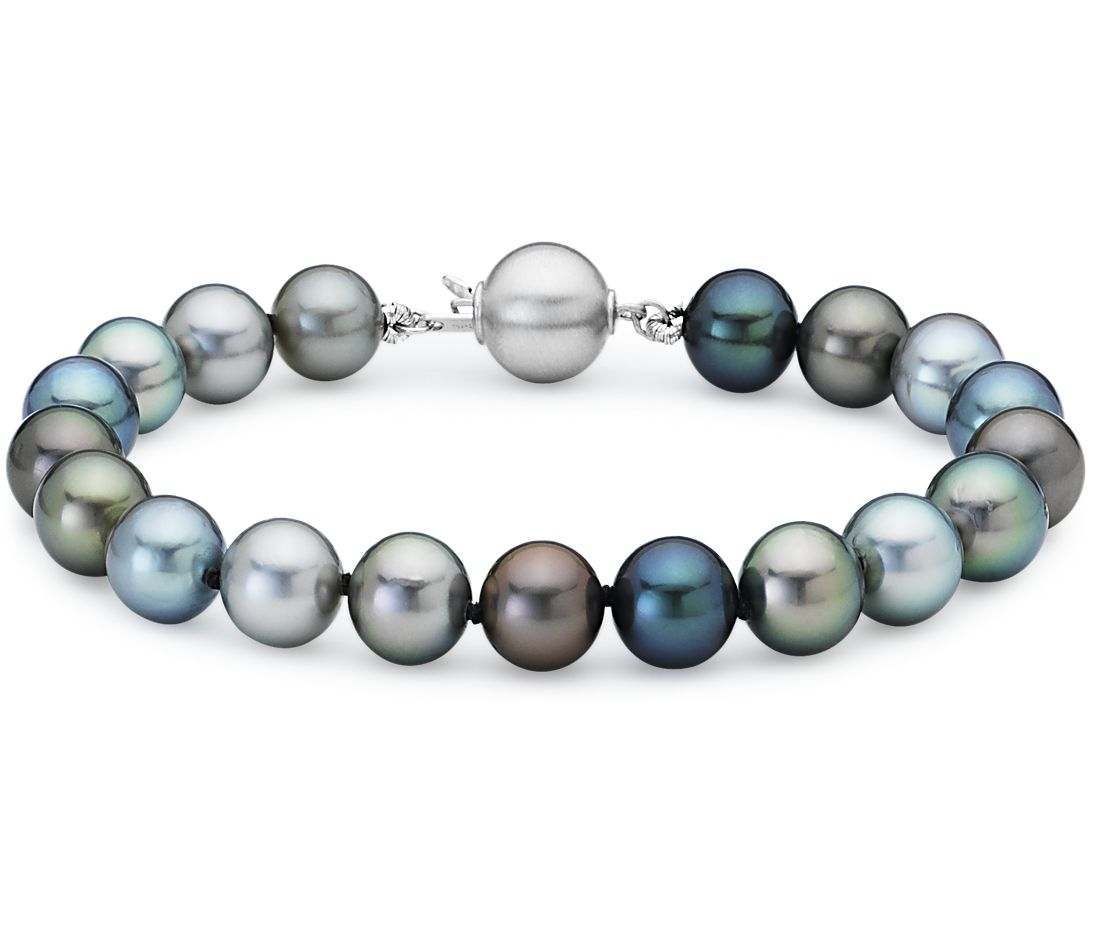 Multi-Color Tahitian Cultured Pearl Bracelet with 18k White Gold (8.0-9.0mm)