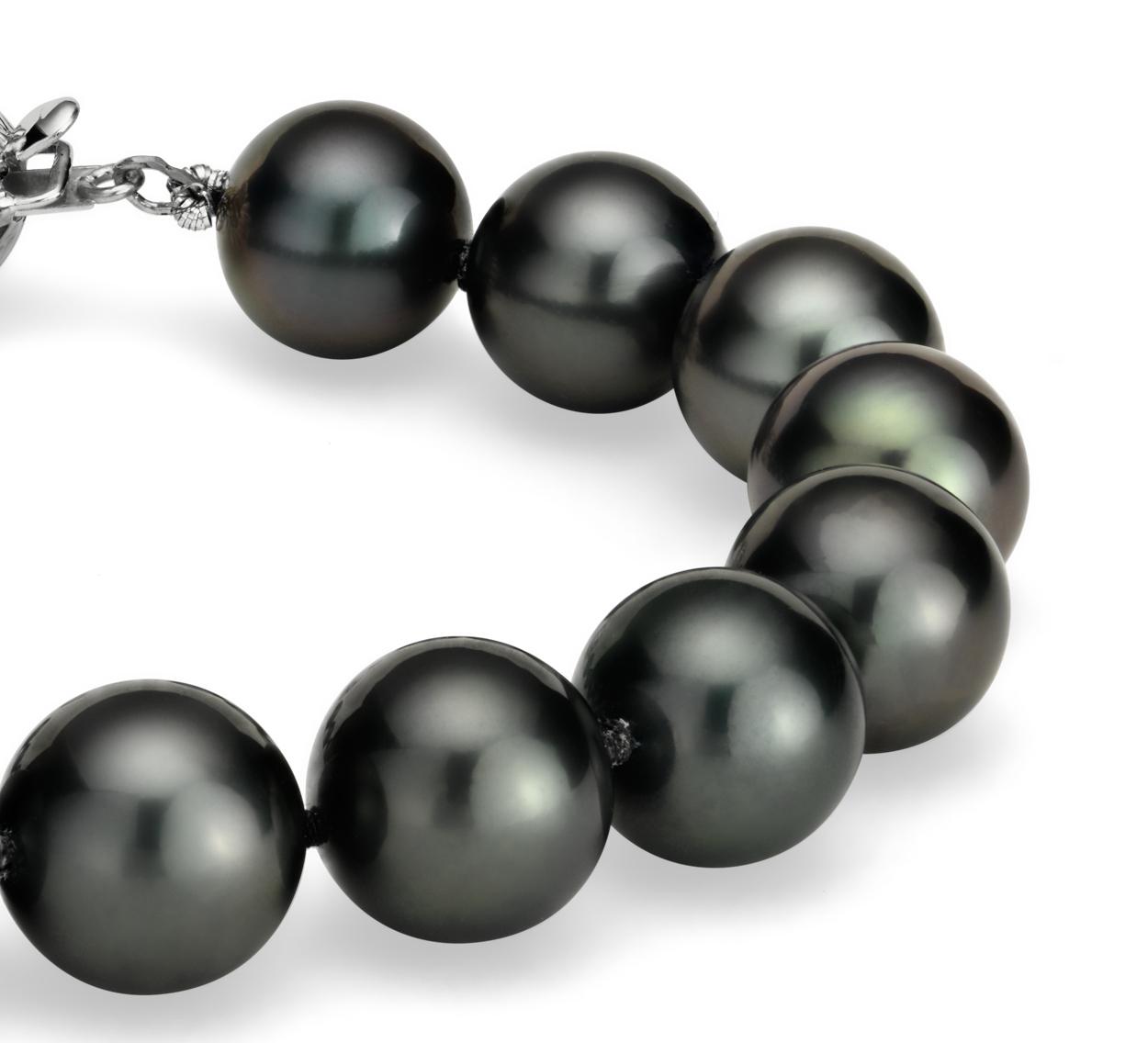 Bracelet de perles de culture de Tahiti en or blanc 18carats (9-10mm)
