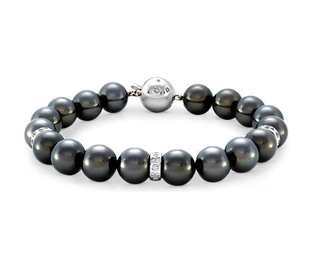 Tahitian Cultured Pearl and Diamond Bracelet in 18k White Gold (9-10mm)