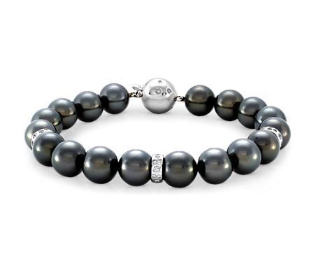 18k 白金大溪地养珠与钻石手链<br>(9-10毫米)